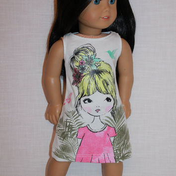 18 inch doll clothes, white graphic print tank dress, sleeveless summer dress, girl with bun hair print dress,