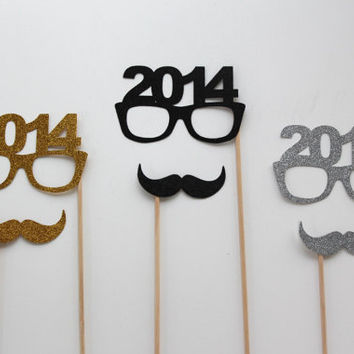 Perfect 2014 Holiday Photo Props - Set of 6 - Gold, Silver and Black Glitter Mustaches - 2014 Glasses - New Years Props