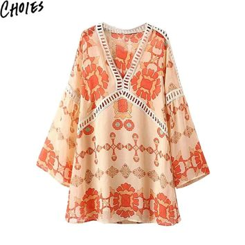 Women 2 Colors Plunge V Neck Flared Sleeve Boho Vintage Smock Mini Dress  New Summer Hollow Out Dresses Cute Beach Clothing