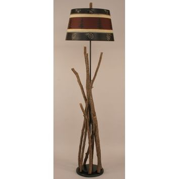 Coast Lamps Tall Stick Floor Lamp With Wooden Base