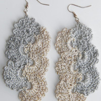 Free Shipping in U.S.A - Silver Cream Cascades - Crochet Earrings - Grey Crochet Earrings - Teens Girls - Womens Earrings - Long Earrings