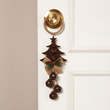 Holiday Door Knob Hanger with 4 Jingle Bells, Jute Bow and Evergreen - 14-in