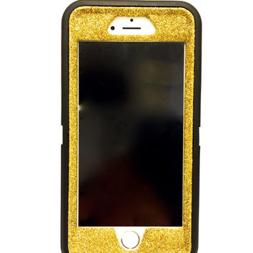 iPhone 6 (4.7 inch) OtterBox Defender Series Case Glitter Cute Sparkly Bling Defender Series Custom Case  Deep black / yellow gold