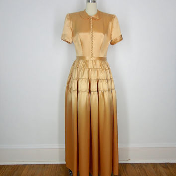 1940s Satin Dress / Fred Perlberg / Vintage Gold Silk Dress / 40s Wedding / Size Medium M