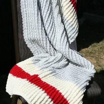 Crochet Grey Cream and Red Sock Monkey Baby Crib Size Blanket by JennisCrochet