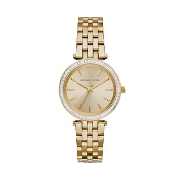 Michael Kors Darci Gold-Tone Stainless Steel Ladies Square Crystal Watch