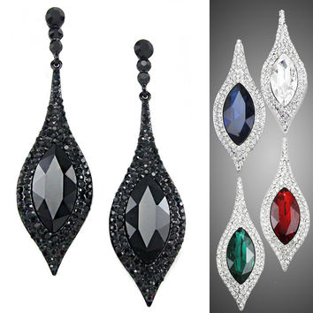 Platinum Plated Crystal Rhinestone leaf Long Plant Drop Earrings