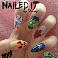 NAILED IT! - Hand painted false nails - Halloween 3D Googly Eyes - pumpkin, frankenstein, blood, night sky!