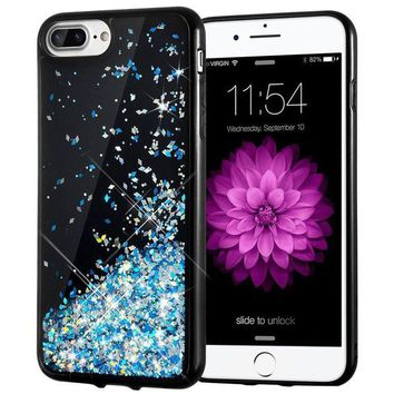 DCCK2JE iPhone 7 Plus Case, Caka [Starry Night Series] Bling Flowing Floating Luxury Liquid Sparkle TPU Bumper Glitter Case for iPhone 6 Plus/6S Plus/7 Plus/8 Plus (5.5 inch) - (Blue)