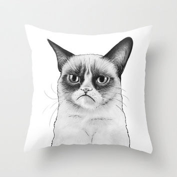 Tard The Grumpy Cat Drawing Throw Pillow by Olechka | Society6