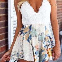 White Backless Floral Romper