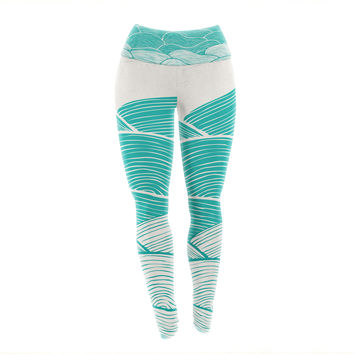 "Pom Graphic Design ""The Calm and Stormy Seas"" Green Teal Yoga Leggings"