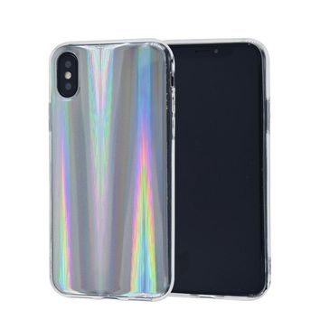 iPhone X 10 Case, FACEVER Psychedelic Holographic Rainbow Case For iPhone X iPhone 10, Sparkle Shiny Colorful Laser Soft Protective Phone Cover -Silver
