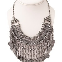 Traveler Faux Coin Bib Necklace