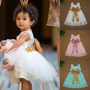 Kids Baby Girl Big Lace Bow Princess Dress Wedding Party Pageant Tutu Dress 1-6Y