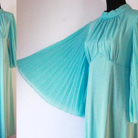 Vintage Dress 70s Angel wings accordion bell Sleeves long MAXI Dress boho Gown Blue Dress Chiffon sleeves epsteam pleated bust dress Med Lg