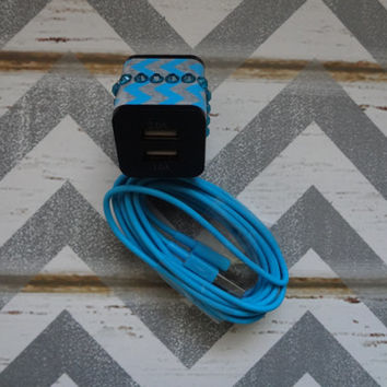 New Super Cute Blue Jeweled Chevron Designed Dual Black Wall USB Charger for iphone 5/5s/5c + 10ft Blue Cable Cord Super Long