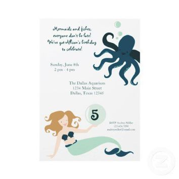 """Under the Sea"" Girl Birthday Party Invitation from Zazzle.com"