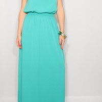 Mint Bridesmaid dress Chiffon dress Prom dress Keyhole dress