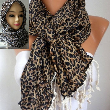 Leopard Scarf - Cotton Scarf -  Cowl with Lace Edge Head cover - fatwoman
