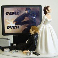 VIDEO GAME 'junkie' Groom Customized Wedding Cake Topper.  The ORIGINAL Video Game cake topper....not a copy cat.