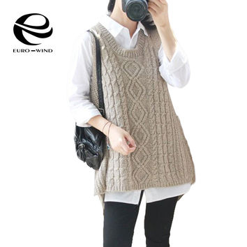 3f104d008a 2016 Autumn Winter Cashmere Vest Knitted Waistcoat Asymmetry Loo