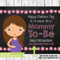 Mother's Day Pregnancy Announcement // Mothers Day Chalkboard Printable  // 14x11 // PDF you edit with ADOBE READER