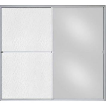 Sterling Plumbing, Standard 59 in. x 56-7/16 in. Framed Bypass Shower Door in Silver with Hammered Glass and Mirrored Panel, 690B-59S-G04 at The Home Depot - Tablet