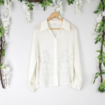 Vintage Sheer Floral Button Up Blouse