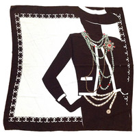 1990s Chanel Silk Scarf Brown and White with Coco Chanel Silhouette