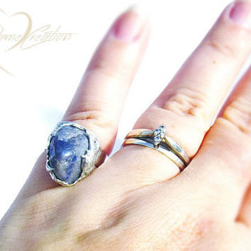 Sodalite Ring - Sodalite Crystal Ring - Gemstone Ring - Dark Blue Gemstone - Blue Stone - Navy Blue Stone - Boho Gifts - One of a Kind Rings