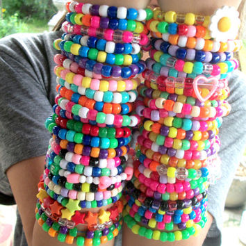 FREE SHIPPING 50 Cute, Colorful Kandi Rave Bracelets / Rainbow, Bright, Neon, Happy, Kawaii, Ravewear