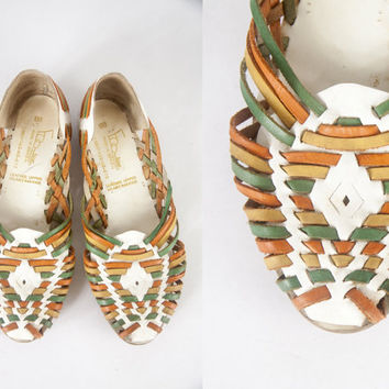 Vintage Huarache Sandals | Rainbow Leather Sandals Boho Chic Hippie Sandals 60s Sandals 70s Sandals White Leather Shoes 60s shoes 70s shoes
