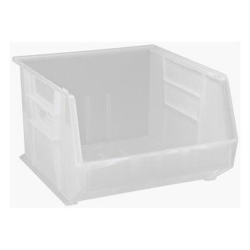 Quantum Plastic Storage Clear-View Ultra Hang and Stack Bin 18 x 16-1/2 x 11 - Pack of 3