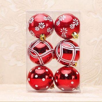 6pcs Glitter Christmas Balls Gold Silver Red Printed Xmas Tree Hanging Ornament Christmas Party Decoration