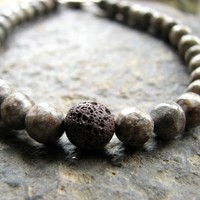 Mans Bracelet Beaded Stone and Lava Pumice Rock Jewelry for Men