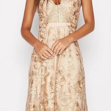 Golden Patchwork Hollow-out Lace Condole Belt Zipper Embroidery Midi Dress