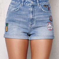 PacSun Pineapple Patched Cuffed Denim Mom Shorts at PacSun.com