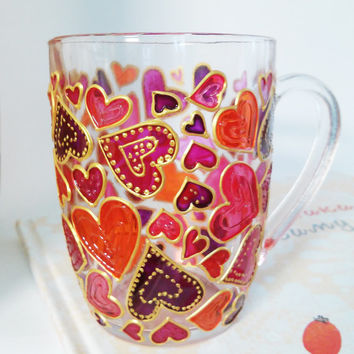 Pinks Hearts Mug Glass Coffee Mug Gift Mug Hand Painted Coffee Cup Gift for Her Coffee Cup Valentine's gift