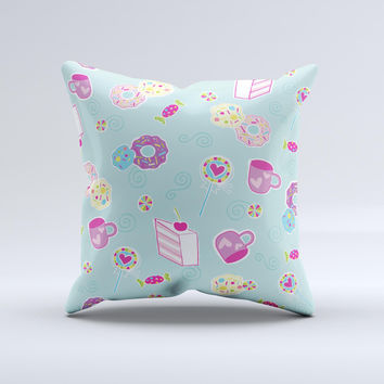 Subtle Blue with Pink Treats  Ink-Fuzed Decorative Throw Pillow
