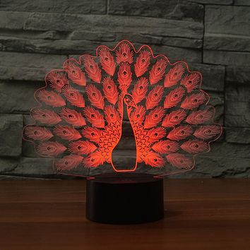 3D Peacock Acrylic Table Night Light Decorative Illusion