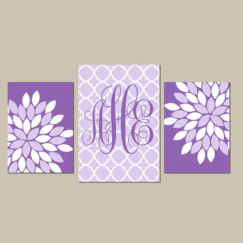 Purple Nursery Wall Art, Baby Girl Monogram CANVAS or Prints Artwork, Girl Bedroom Pictures, Lilac Flower Burst Set of 3 Above Crib Decor