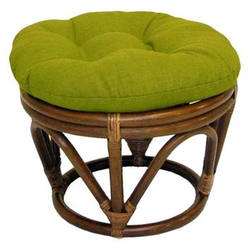 18-Inch Bali Rattan Papasan Footstool with Cushion - Solid Outdoor Fabric, Lime