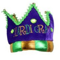 7in Tall Mardi Gras Plush Crown w/ Bells