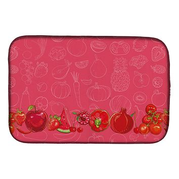 Fruits and Vegetables in Red Dish Drying Mat BB5133DDM