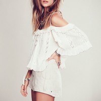 Ruffled Gypsy Crop Top With Lace Details