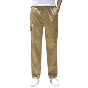 Casual Loose Solid Cotton Cargo Pants for Fat Men