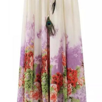 White Floral Printed Pleated Maxi Skirt