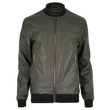 Grey Vegan Leather Bomber Jacket