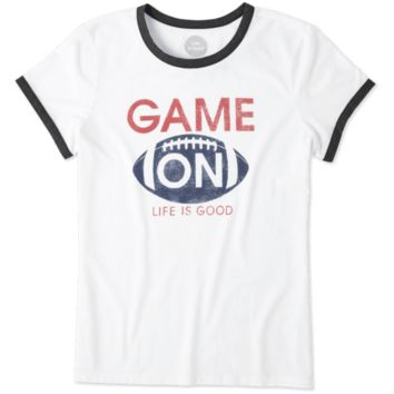 Women's Game On Football Ringer Tee